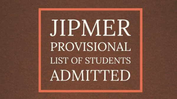 JIPMER Provisional List of Students Admitted
