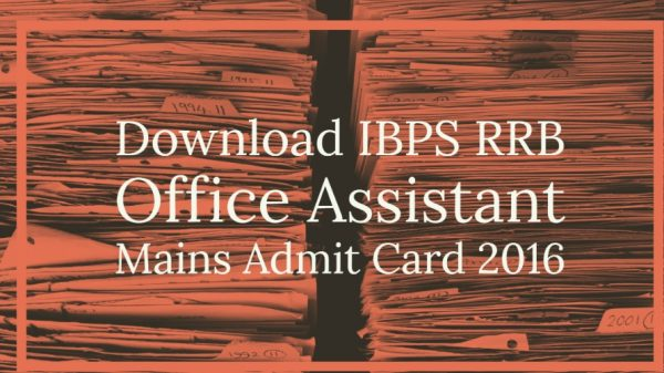 Download IBPS RRB Office Assistant Mains Admit Card 2016