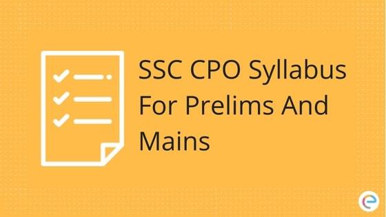 SSC CPO Syllabus 2018