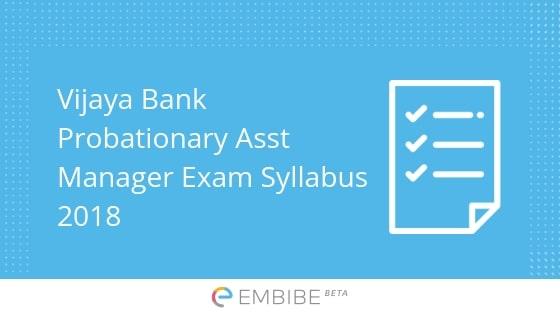 Vijaya Bank Probationary Assistant Manager Syllabus
