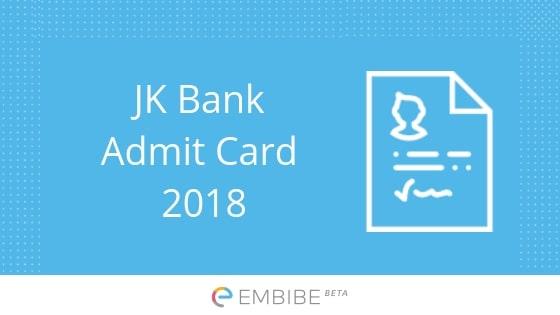 JK Bank Admit Card 2018