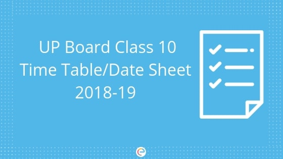 UP Board Time Table for Class 10