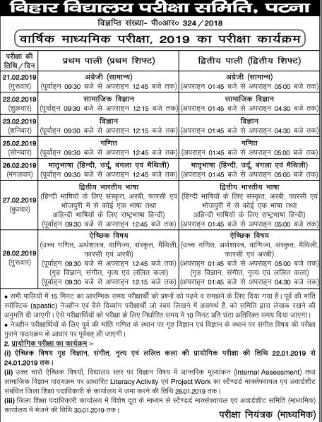 Bihar Board 10th Time Table 2019: Check Bihar Board Class 10
