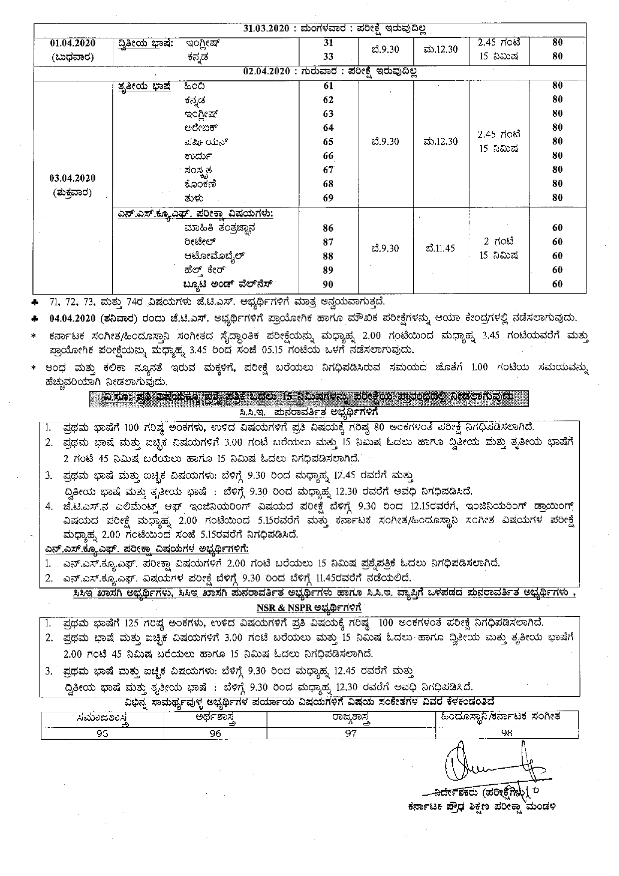 Karnataka SSLC Time Table for Class 10
