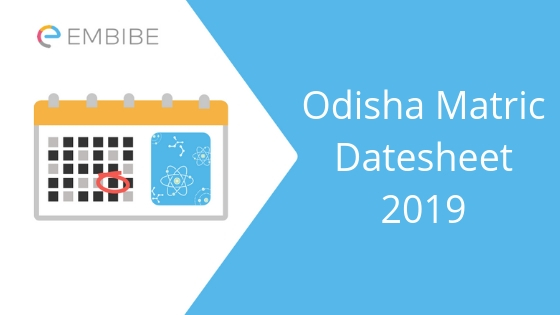 Odisha 10th date sheet 2019