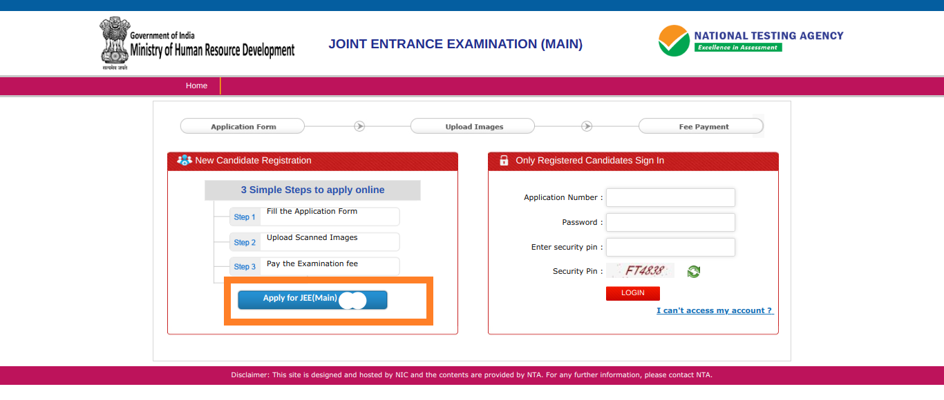 JEE Main Application Form 2020   JEE Main 2020 Registration, Dates