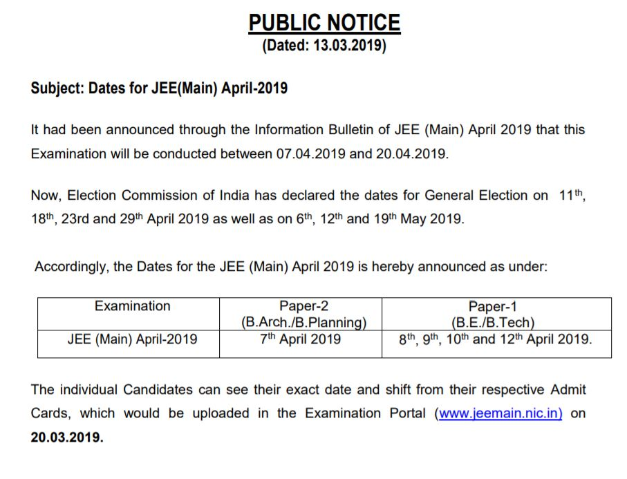 JEE Main Revised Schedule
