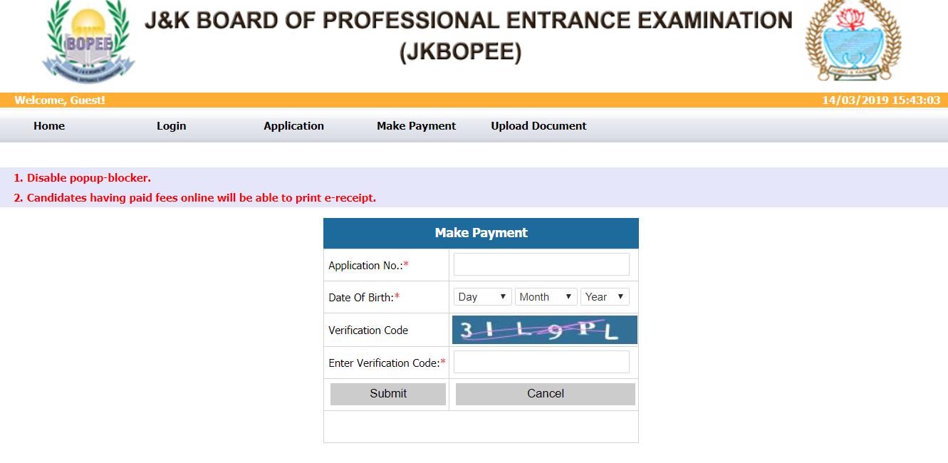 JKCET Application Form Fee