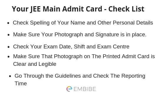 jee main admit card embibe