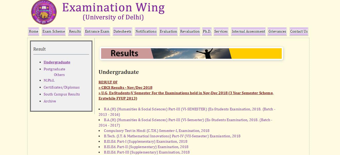 Delhi University Result   Download Your Statement Of Marks For UG