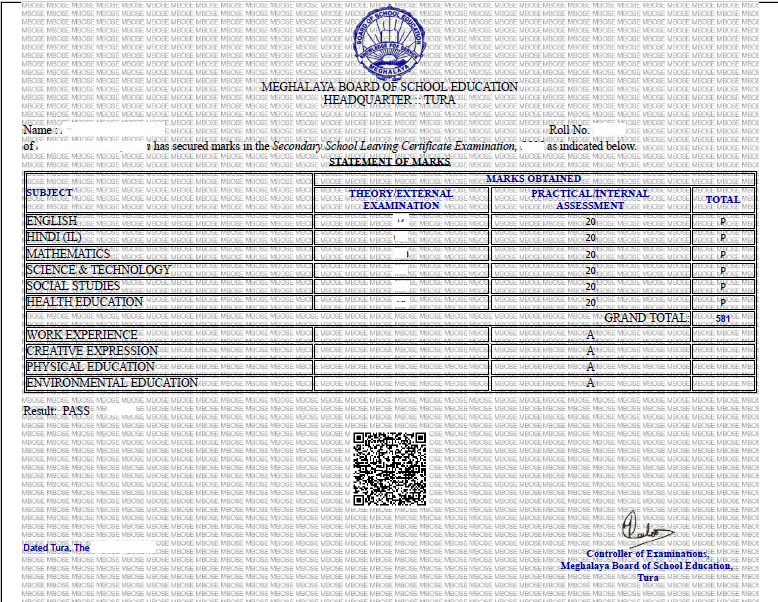 mbose result score card