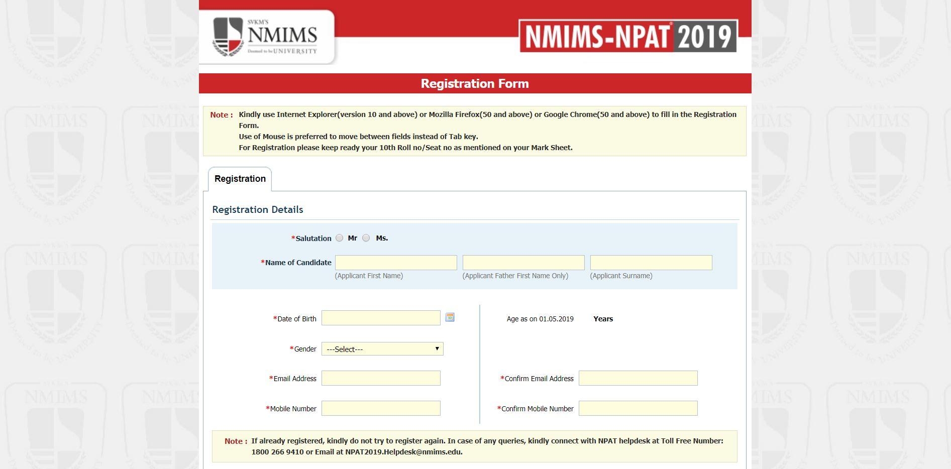 NPAT Application form 2