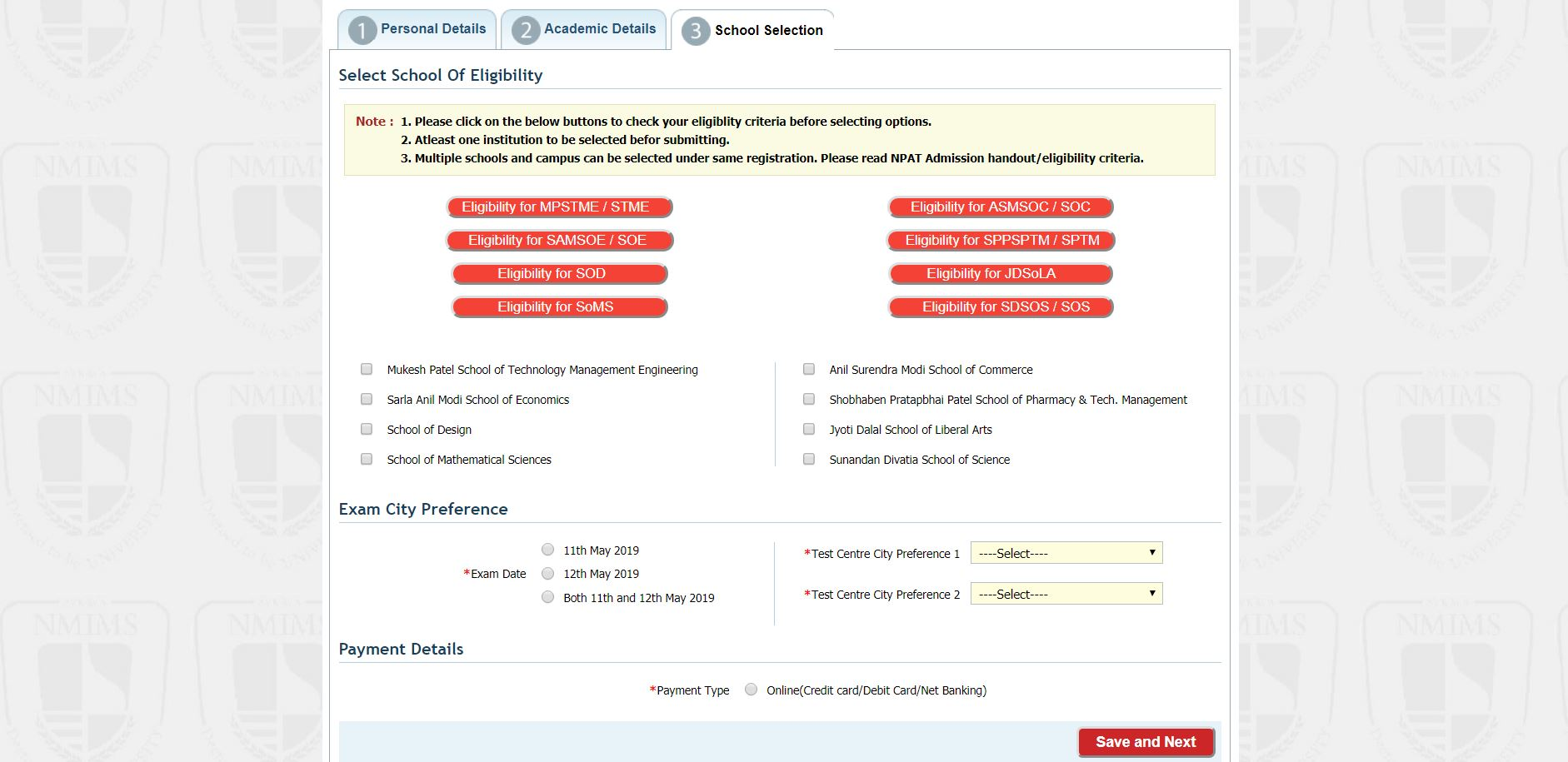 NPAT Application form School details