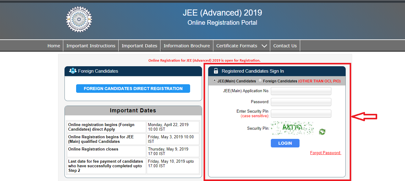 jee advanced registration