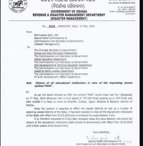 Odisha Govt Notification NEET Cancellation Cyclone Faani