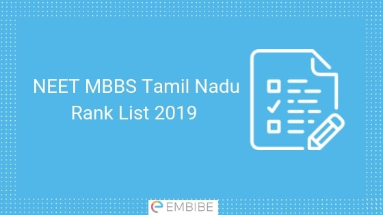NEET MBBS Tamil Nadu Rank List 2019