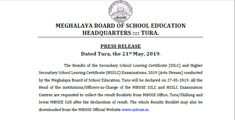 MBOSE Result Declared For Class 10 &12 Arts   Check Meghalaya Board