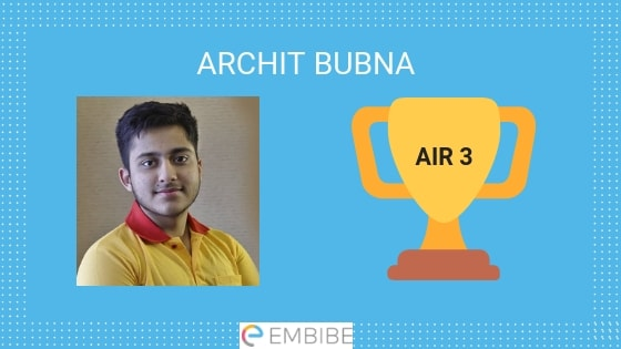 JEE Advanced Toppers 2019 Archit Bubna AIR 3