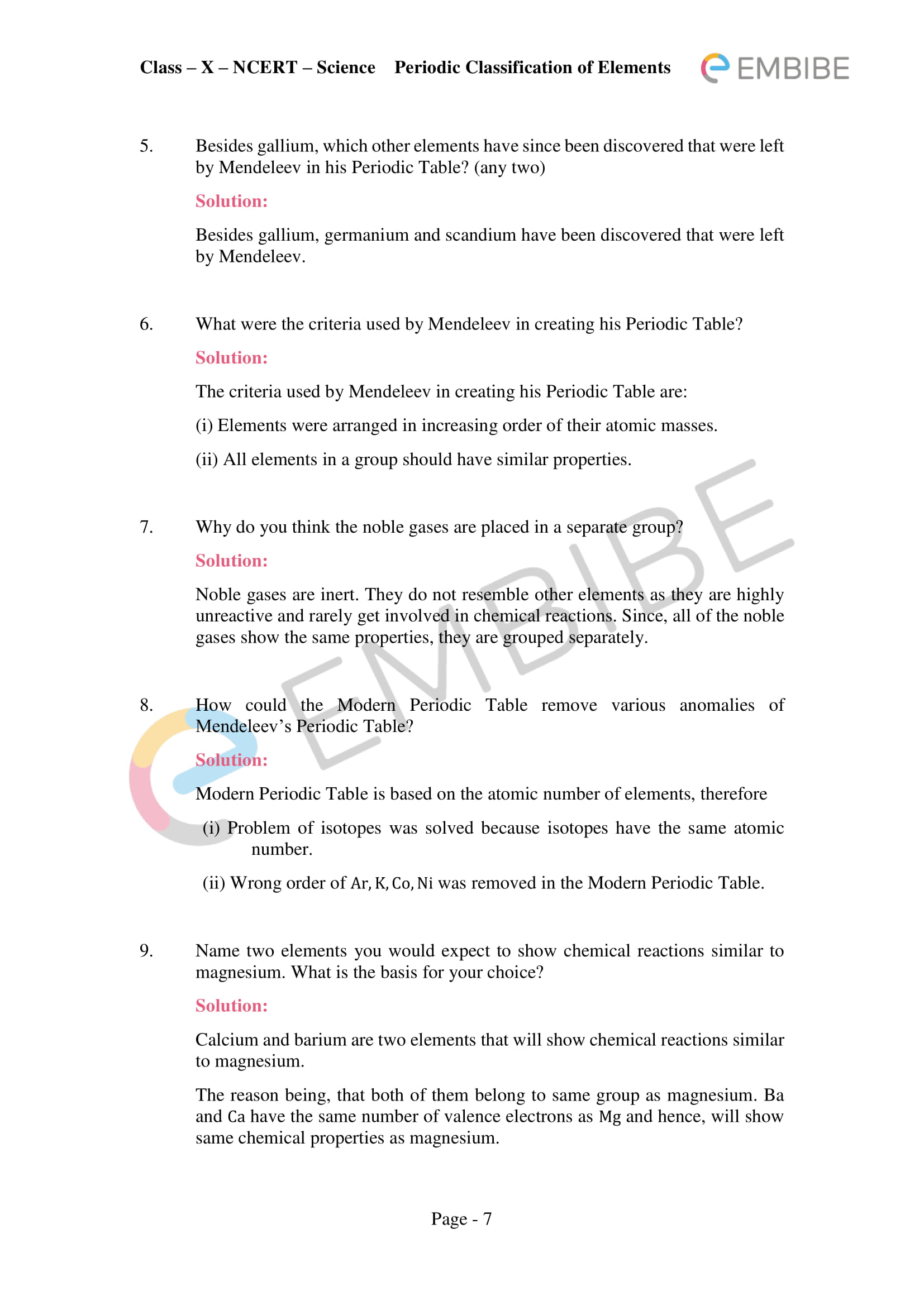 ncert solutions for class 10 science chapter 5 -periodic classification of elements