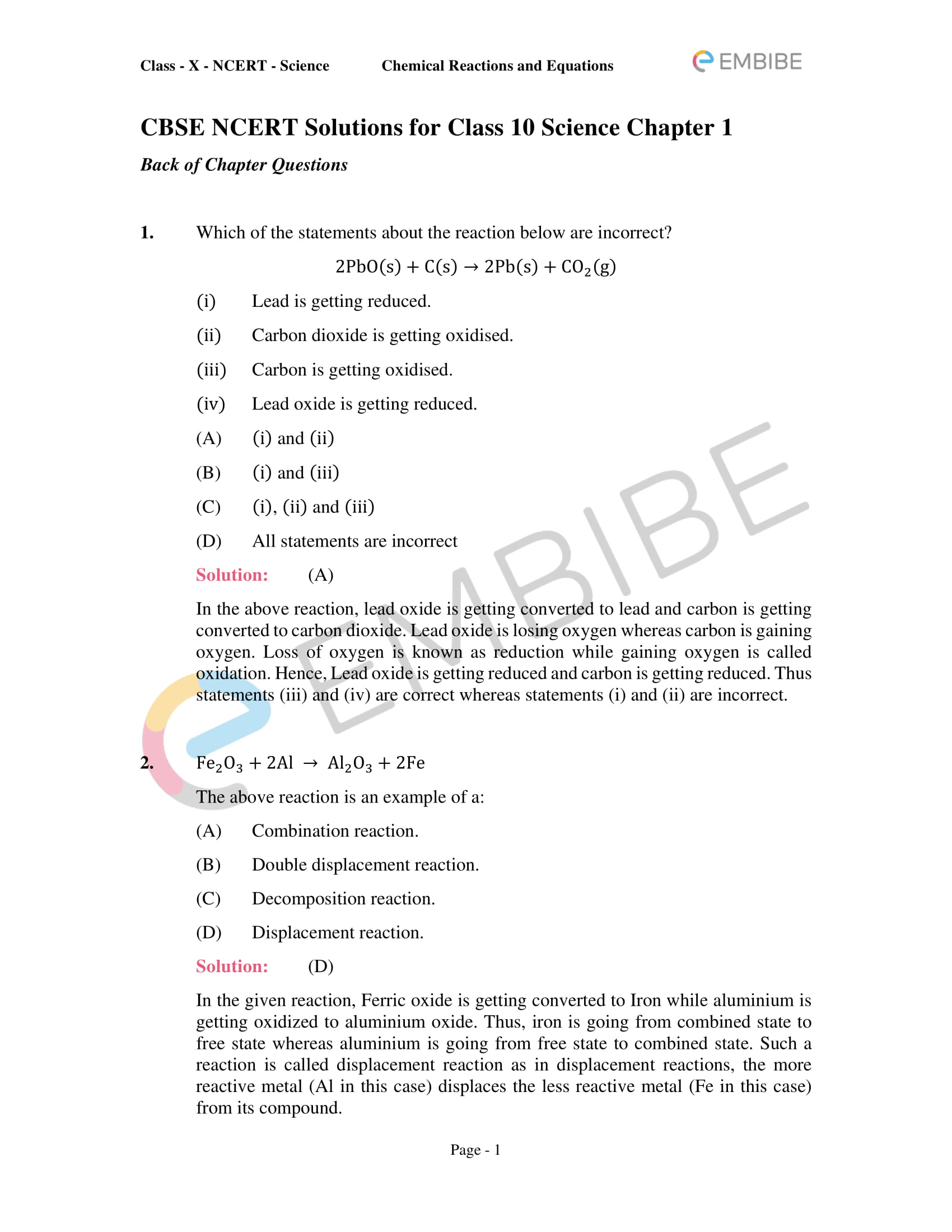 CBSE NCERT Solutions for Class 10 Science Chapter 1: Chemical Reactions And Equations-1