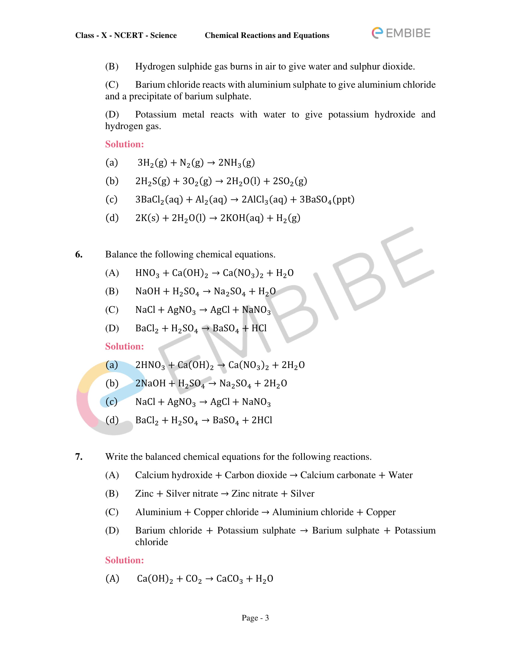 CBSE NCERT Solutions for Class 10 Science Chapter 1: Chemical Reactions And Equations-3