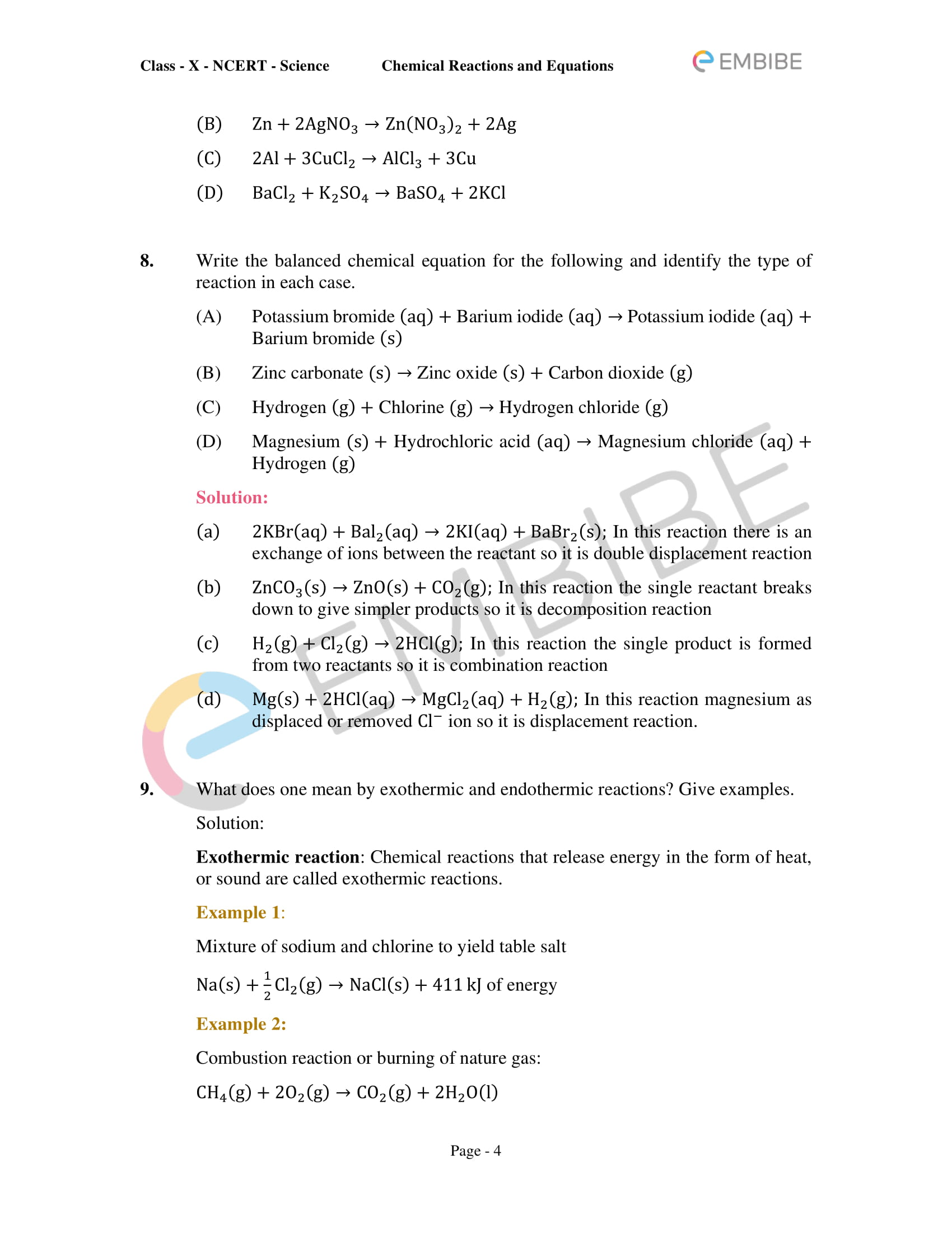 CBSE NCERT Solutions for Class 10 Science Chapter 1: Chemical Reactions And Equations-4
