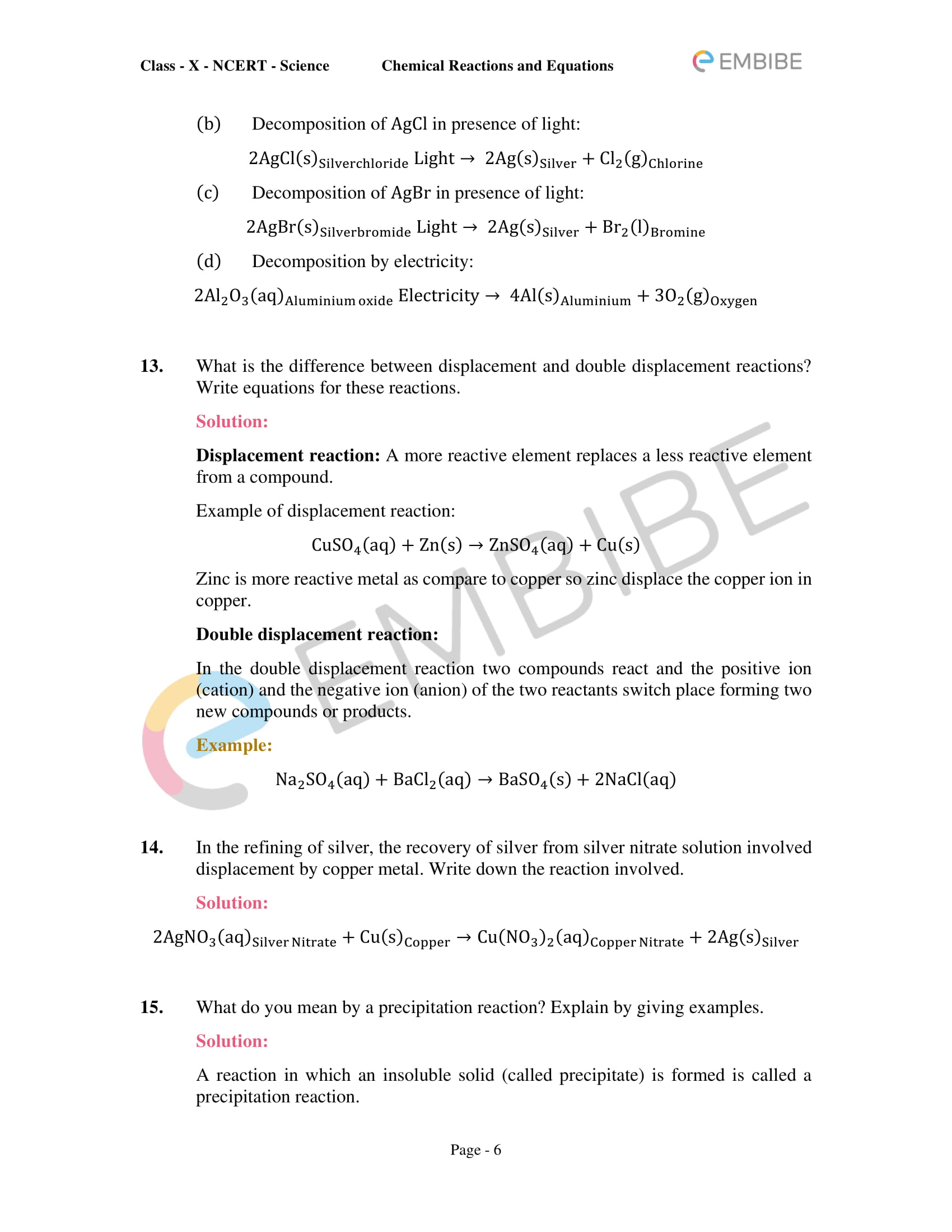 CBSE NCERT Solutions for Class 10 Science Chapter 1: Chemical Reactions And Equations-6