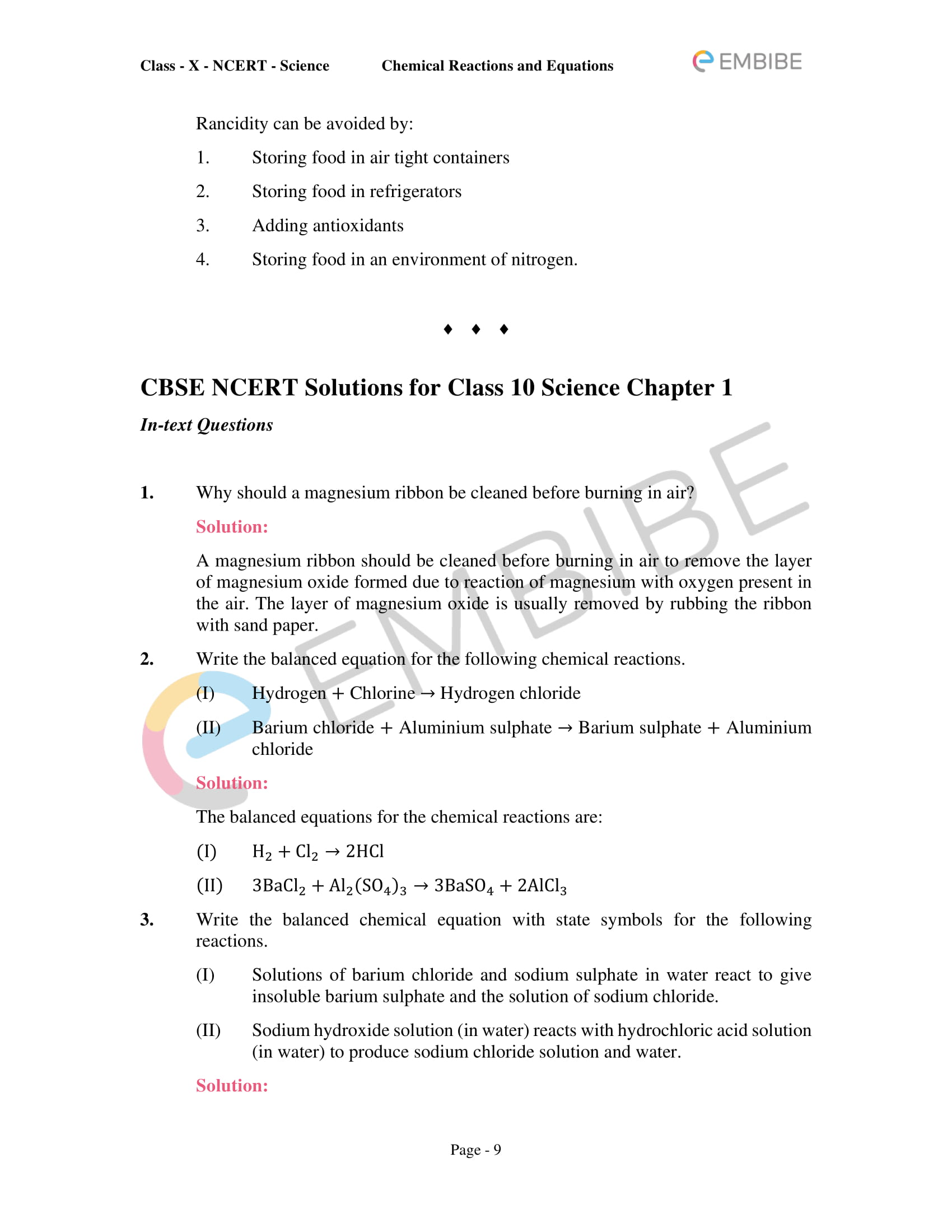 CBSE NCERT Solutions for Class 10 Science Chapter 1: Chemical Reactions And Equations-9