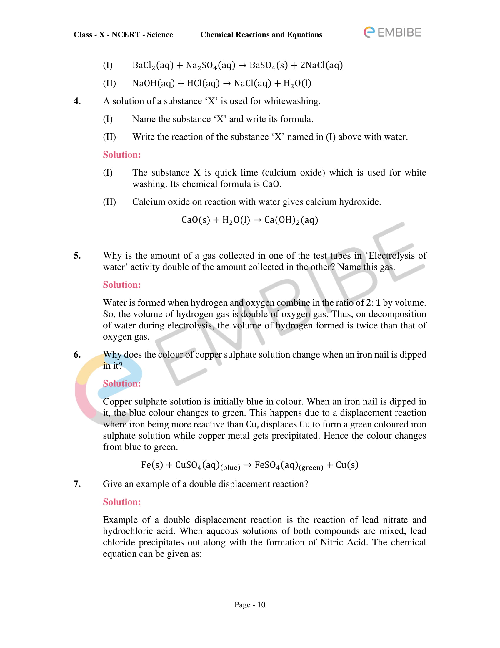CBSE NCERT Solutions for Class 10 Science Chapter 1: Chemical Reactions And Equations-10