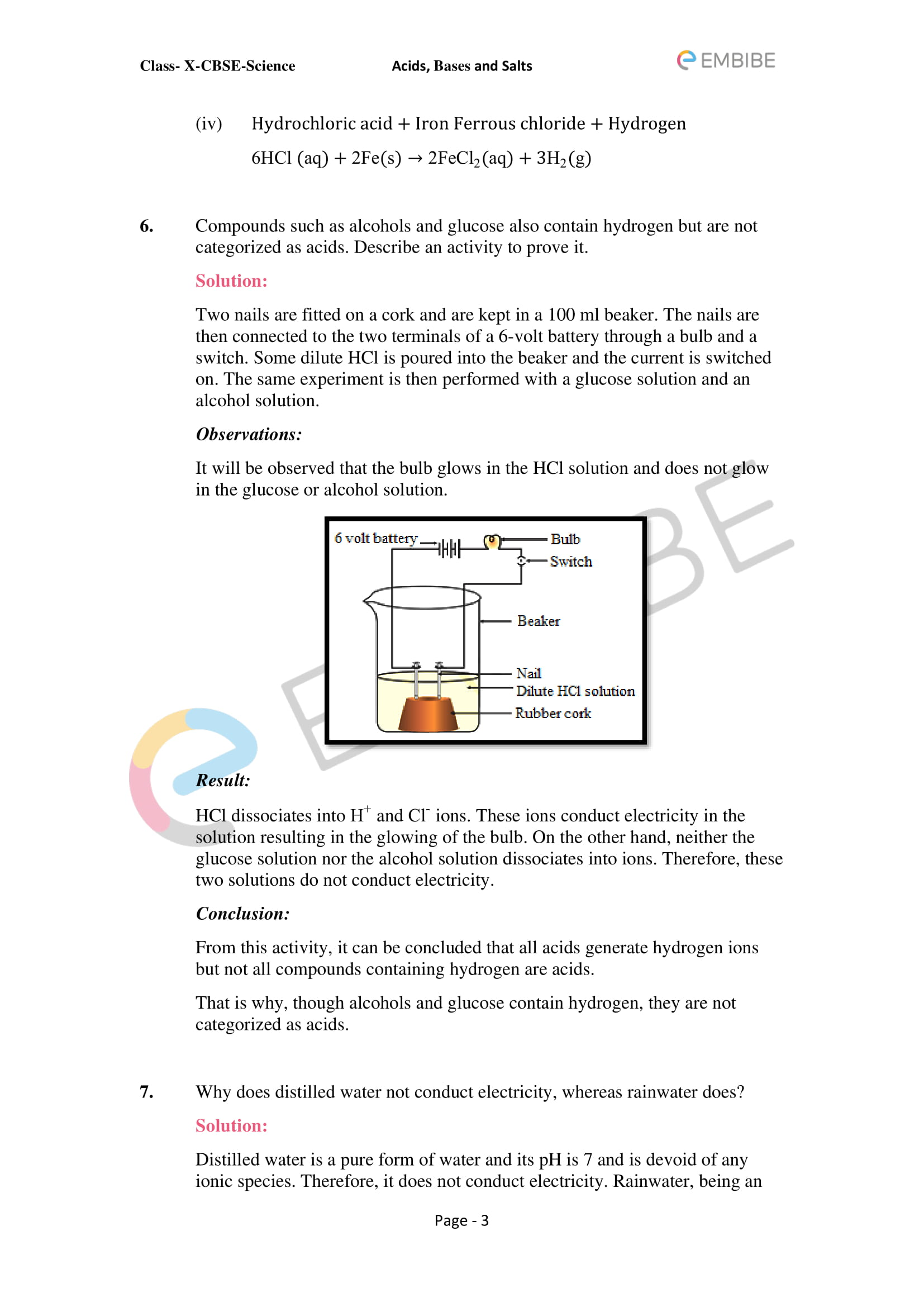 CBSE NCERT Solutions For Class 10 Science Chapter 2: Acids, Bases & Salts - 3