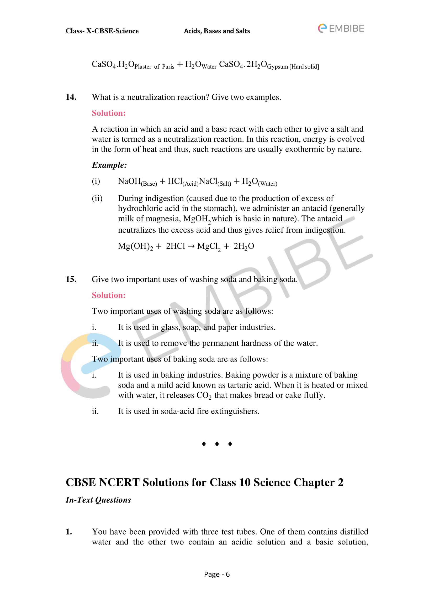 CBSE NCERT Solutions For Class 10 Science Chapter 2: Acids, Bases & Salts - 6