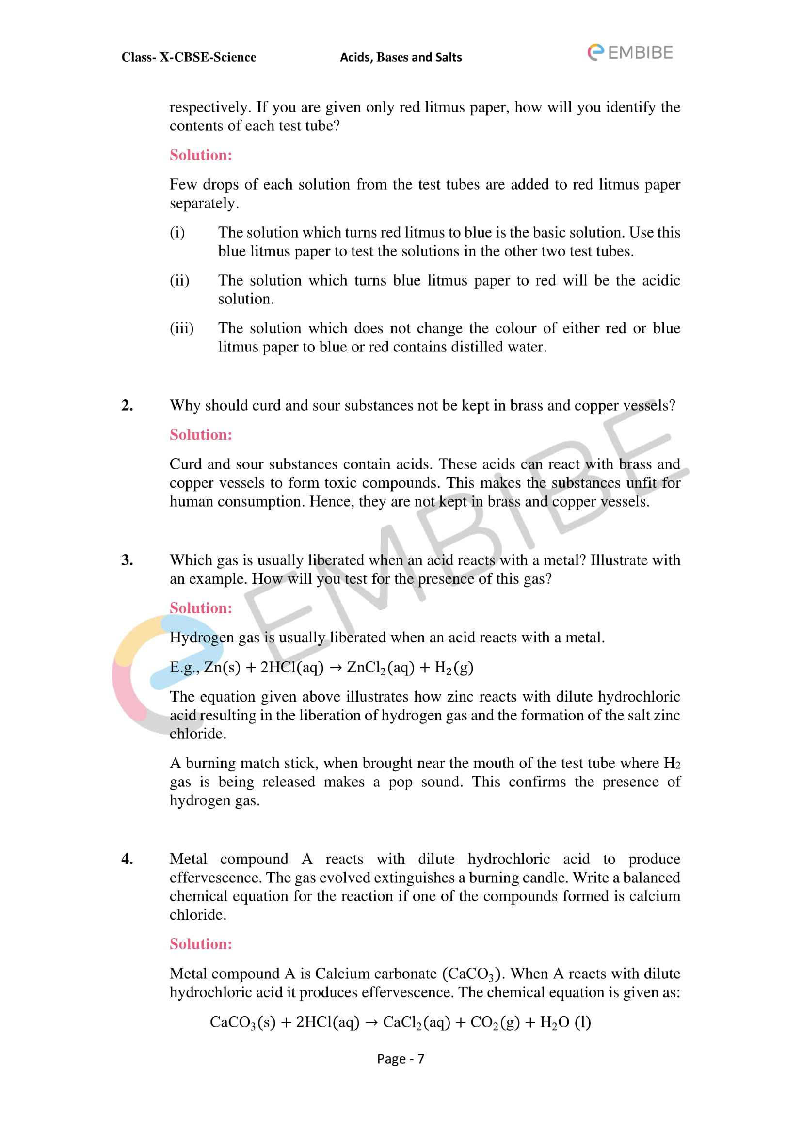 CBSE NCERT Solutions For Class 10 Science Chapter 2: Acids, Bases & Salts - 7