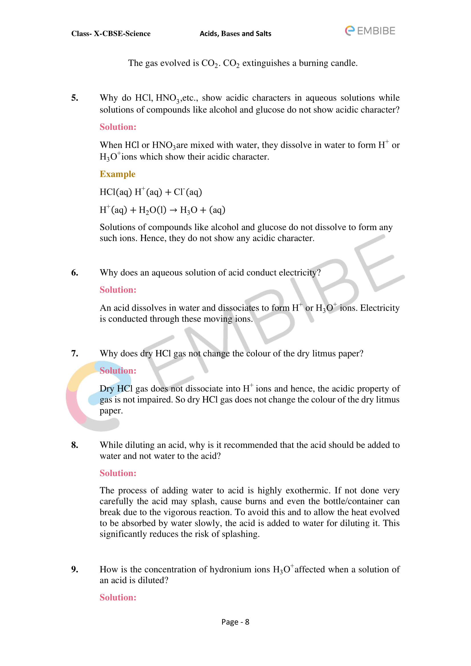 CBSE NCERT Solutions For Class 10 Science Chapter 2: Acids, Bases & Salts - 8