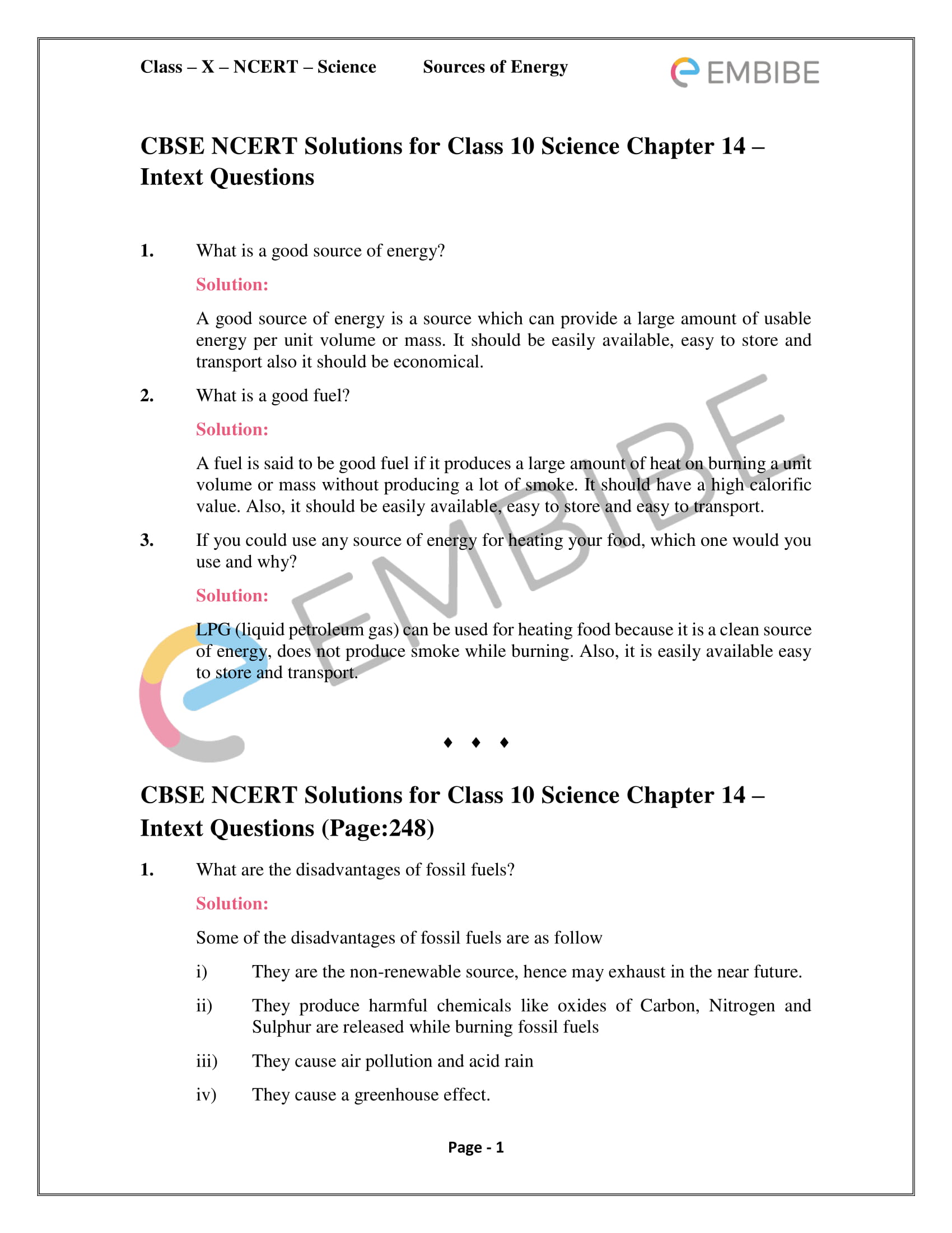 CBSE NCERT Solutions For Class 10 Science Chapter 14