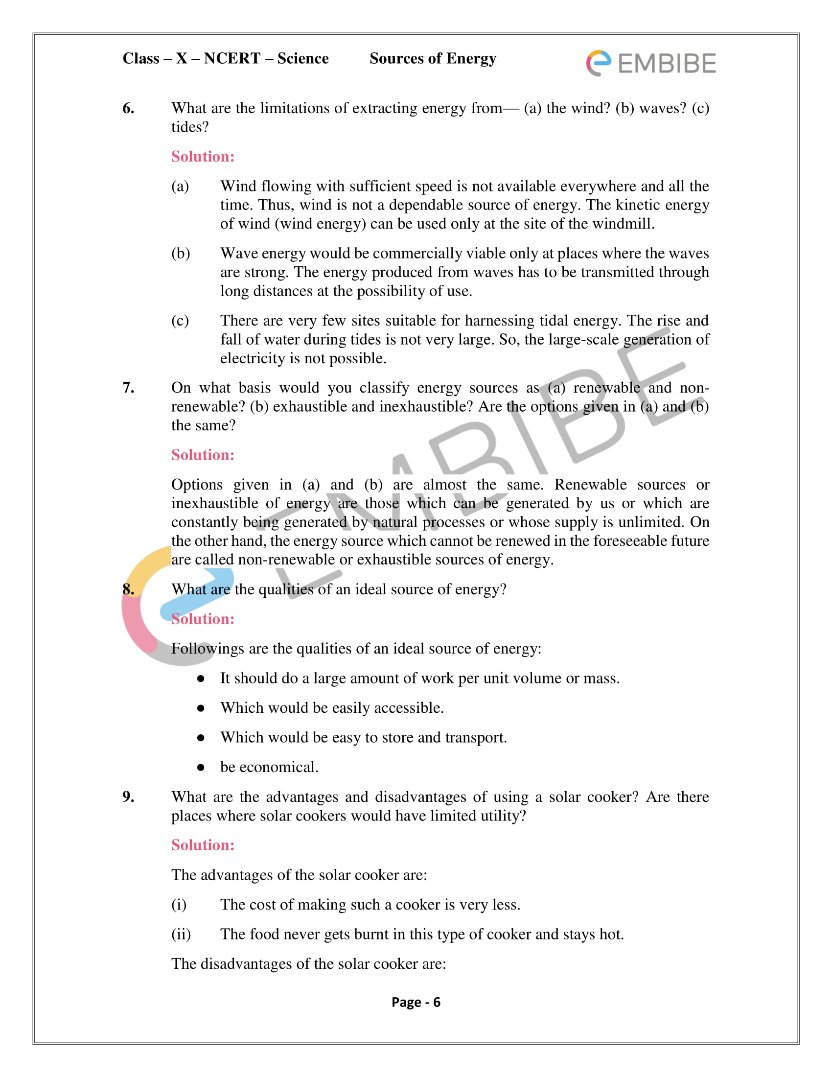 CBSE NCERT Solutions For Class 10 Science Chapter 14 - Sources of Energy