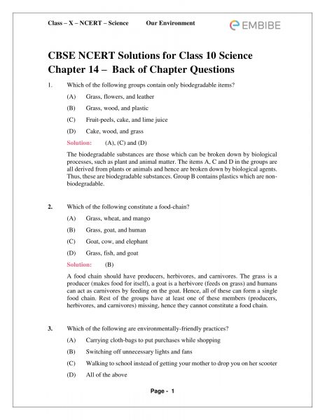 CBSE NCERT Solutions For Class 10 Science Chapter 15: Our Environment (PDF)