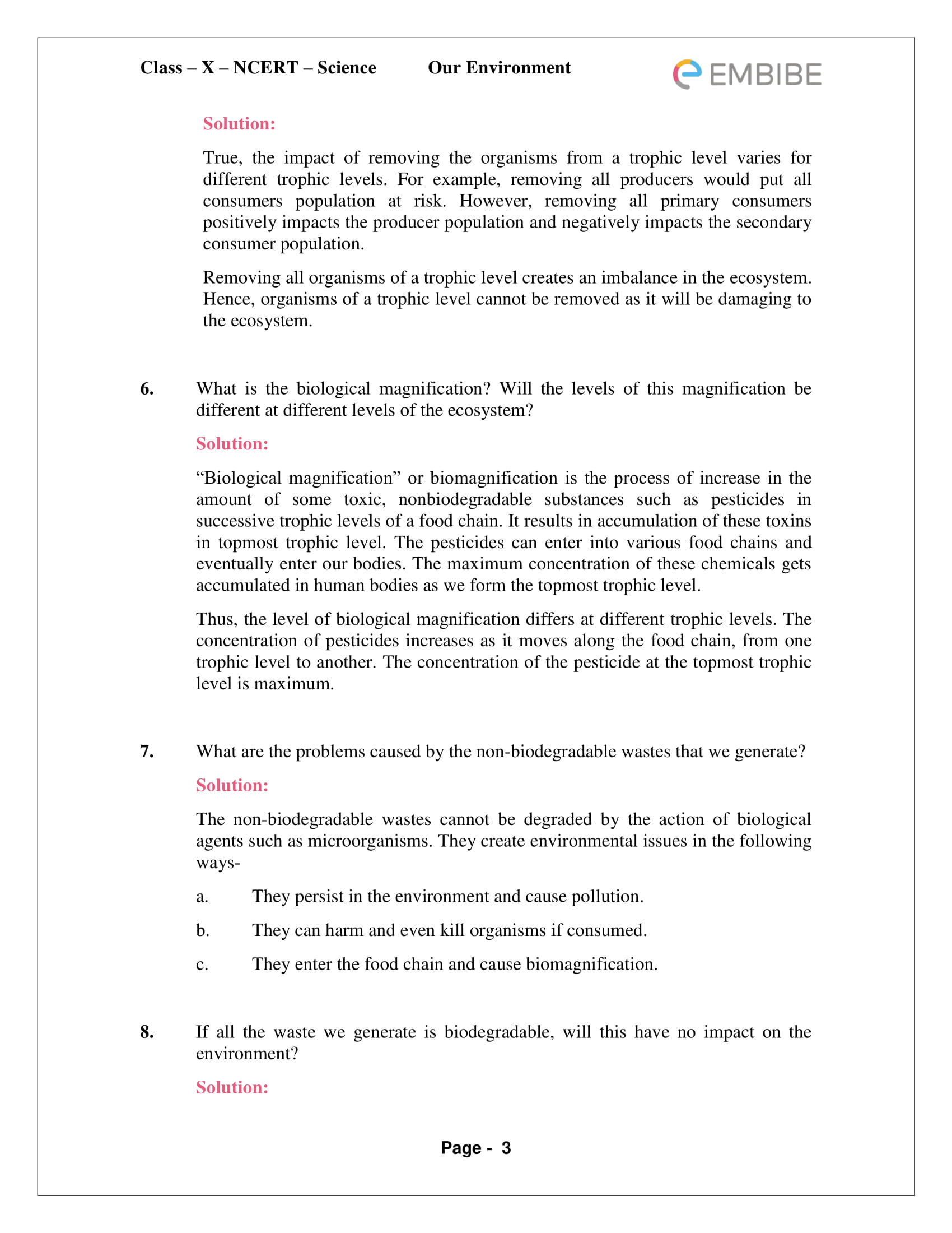 CBSE NCERT Solutions For Class 10 Science Chapter 15 - Our Environment