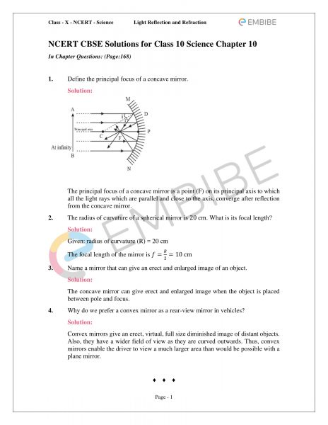CBSE NCERT Solutions For Class 10 Science Chapter 10 | Light Reflection And Refraction (PDF)