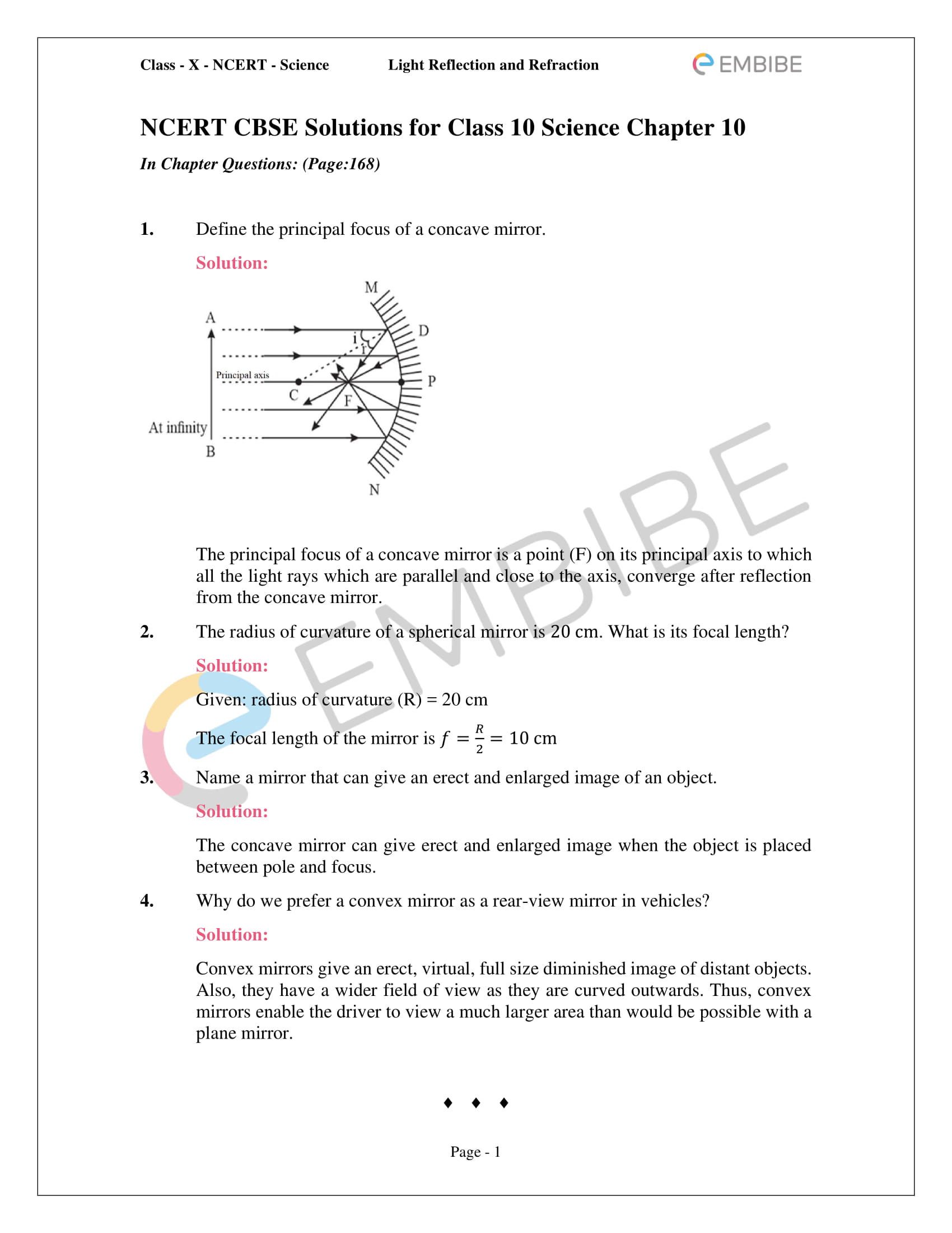 CBSE NCERT Solutions For Class 10 Science Chapter 10 - Light Reflection and Refraction - 1