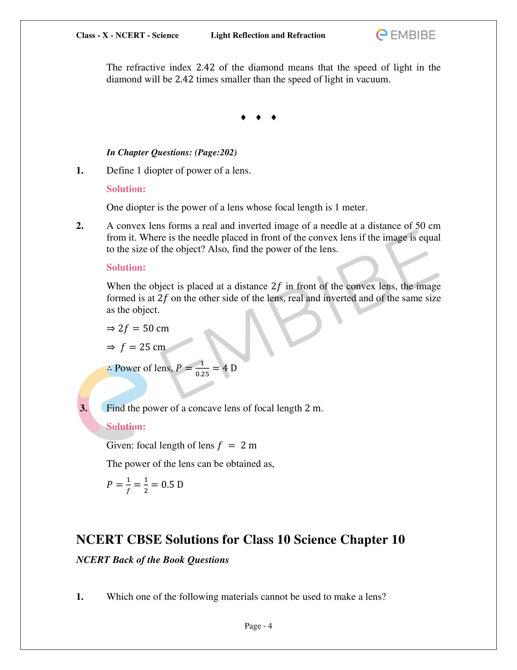 CBSE NCERT Solutions For Class 10 Science Chapter 10 - Light Reflection and Refraction - 4