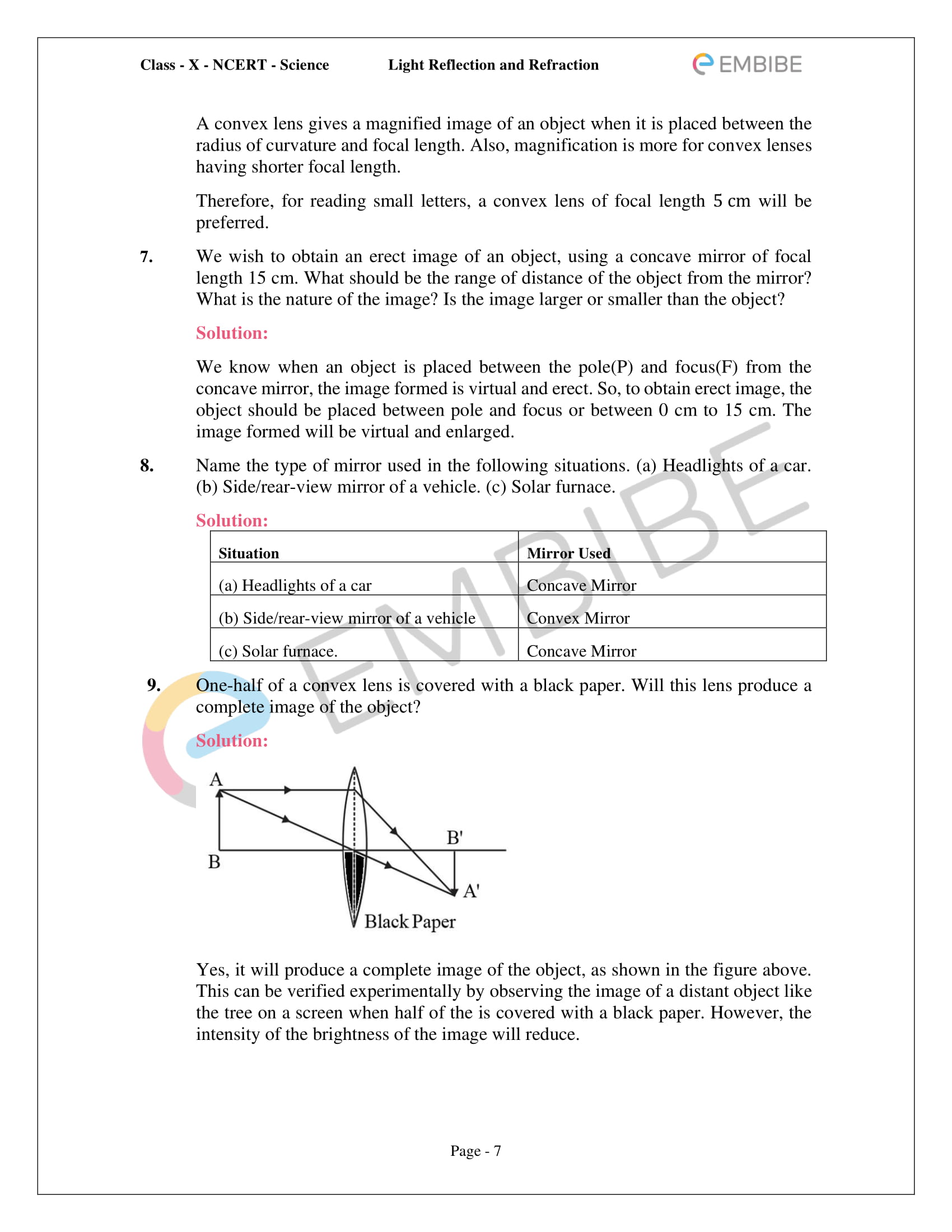 CBSE NCERT Solutions For Class 10 Science Chapter 10 - Light Reflection and Refraction - 7