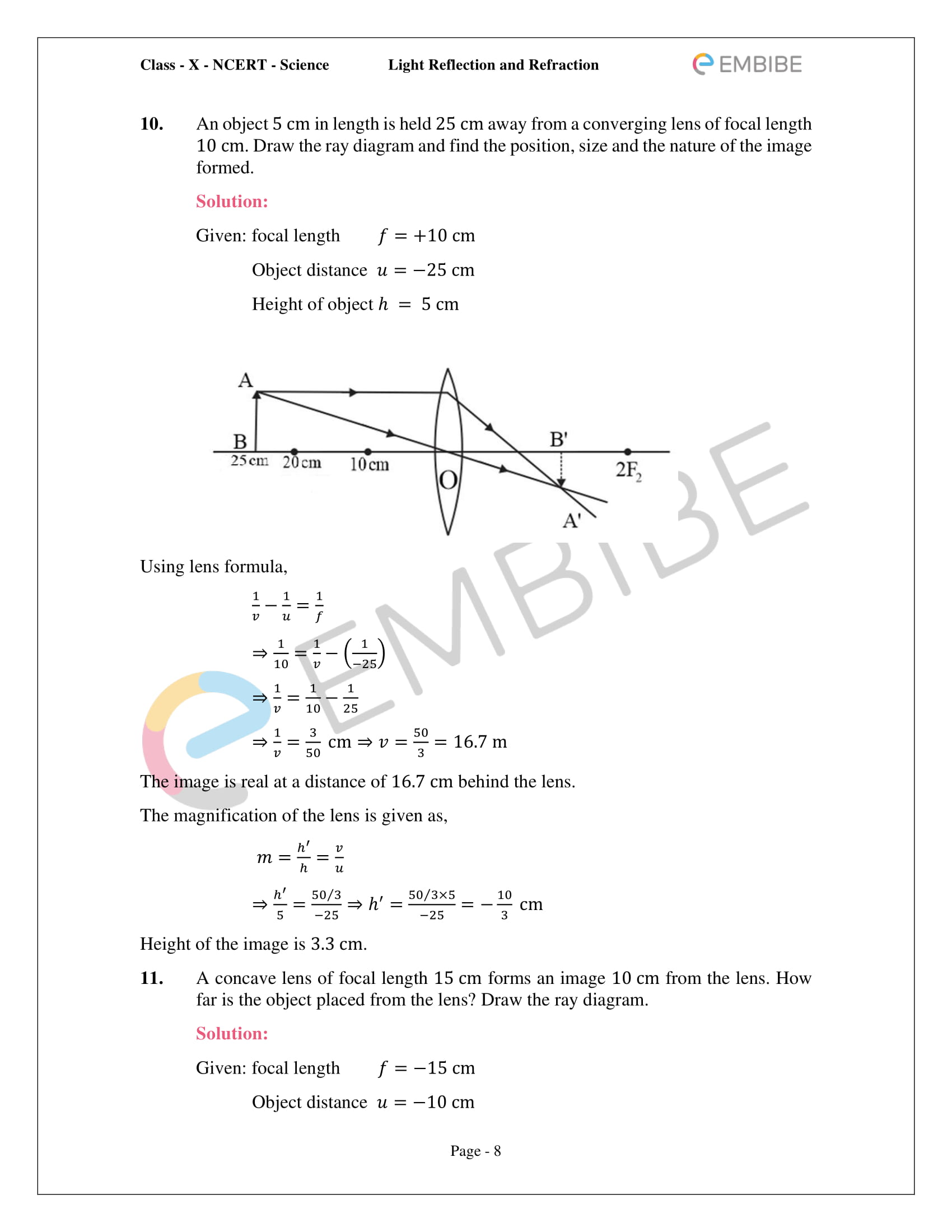CBSE NCERT Solutions For Class 10 Science Chapter 10 - Light Reflection and Refraction - 8