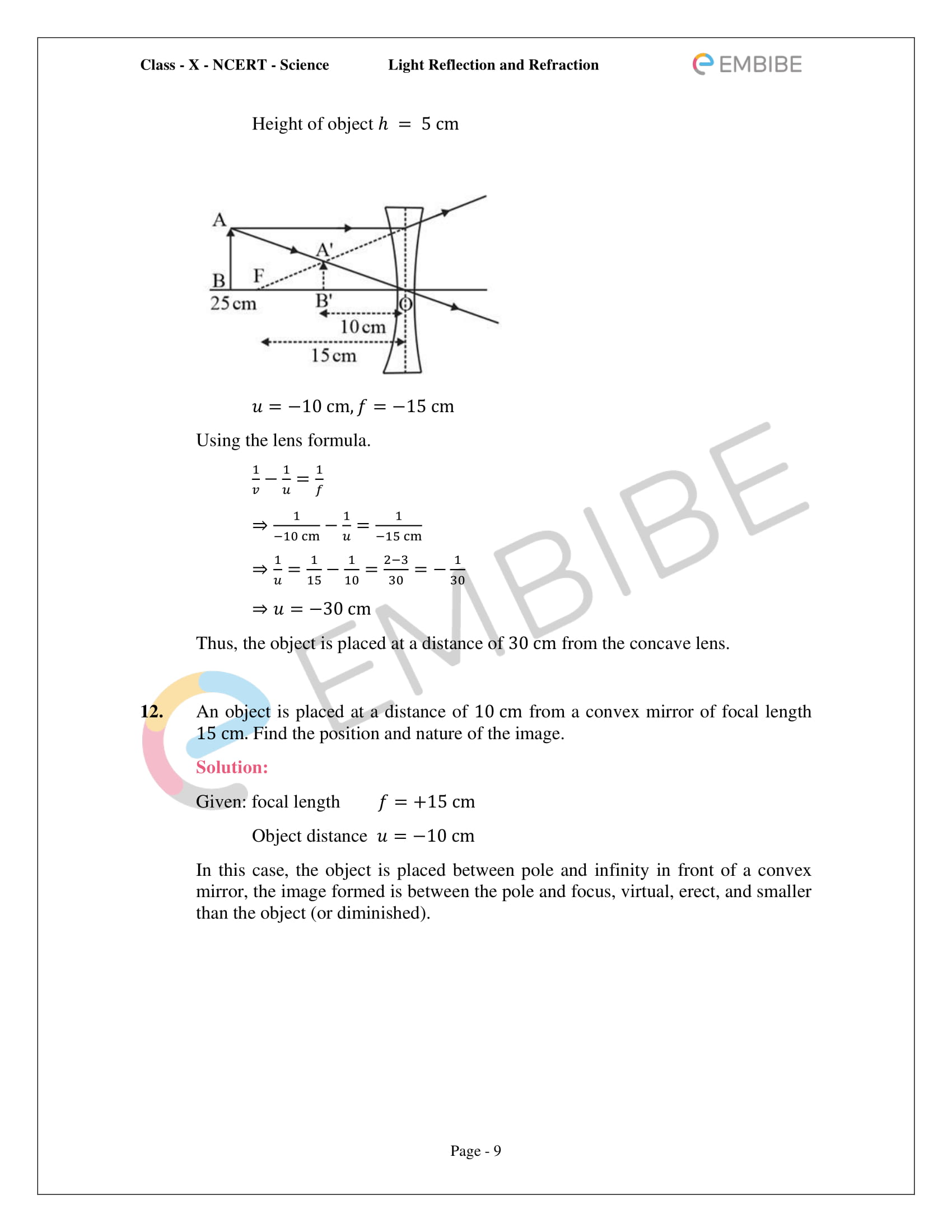 CBSE NCERT Solutions For Class 10 Science Chapter 10 - Light Reflection and Refraction - 9