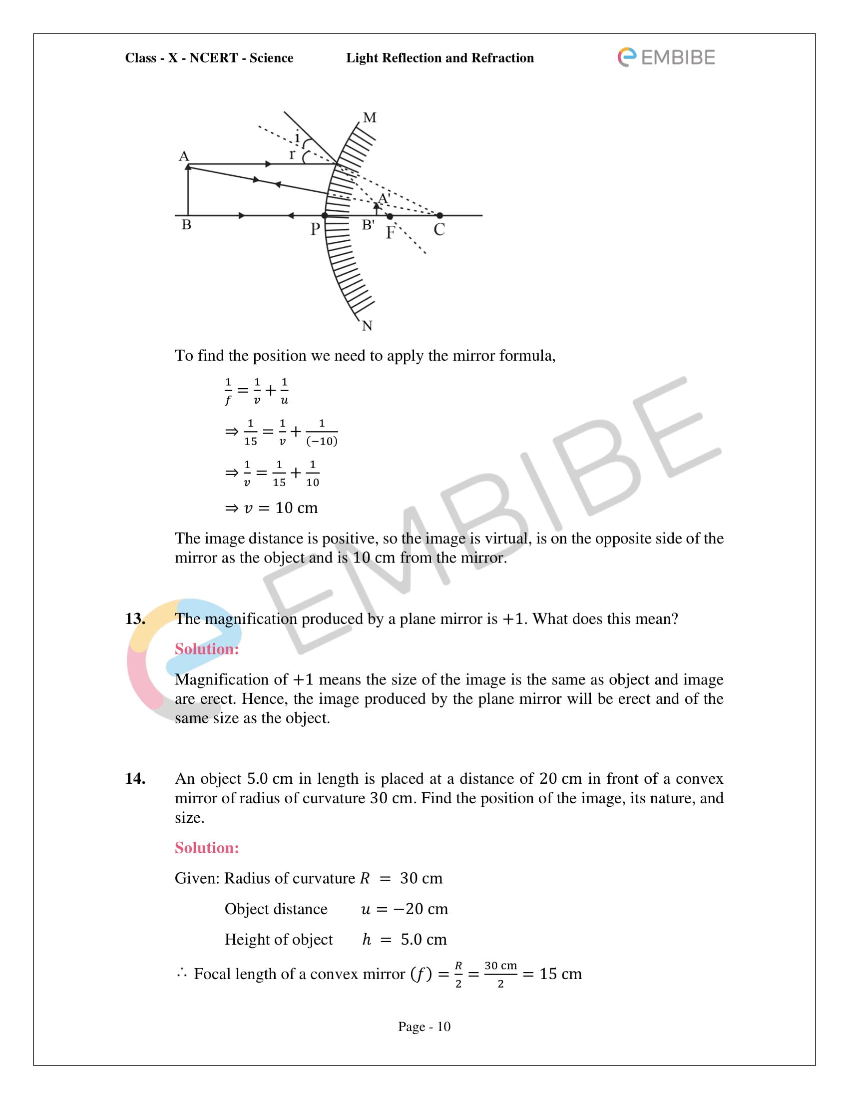 CBSE NCERT Solutions For Class 10 Science Chapter 10 - Light Reflection and Refraction - 10
