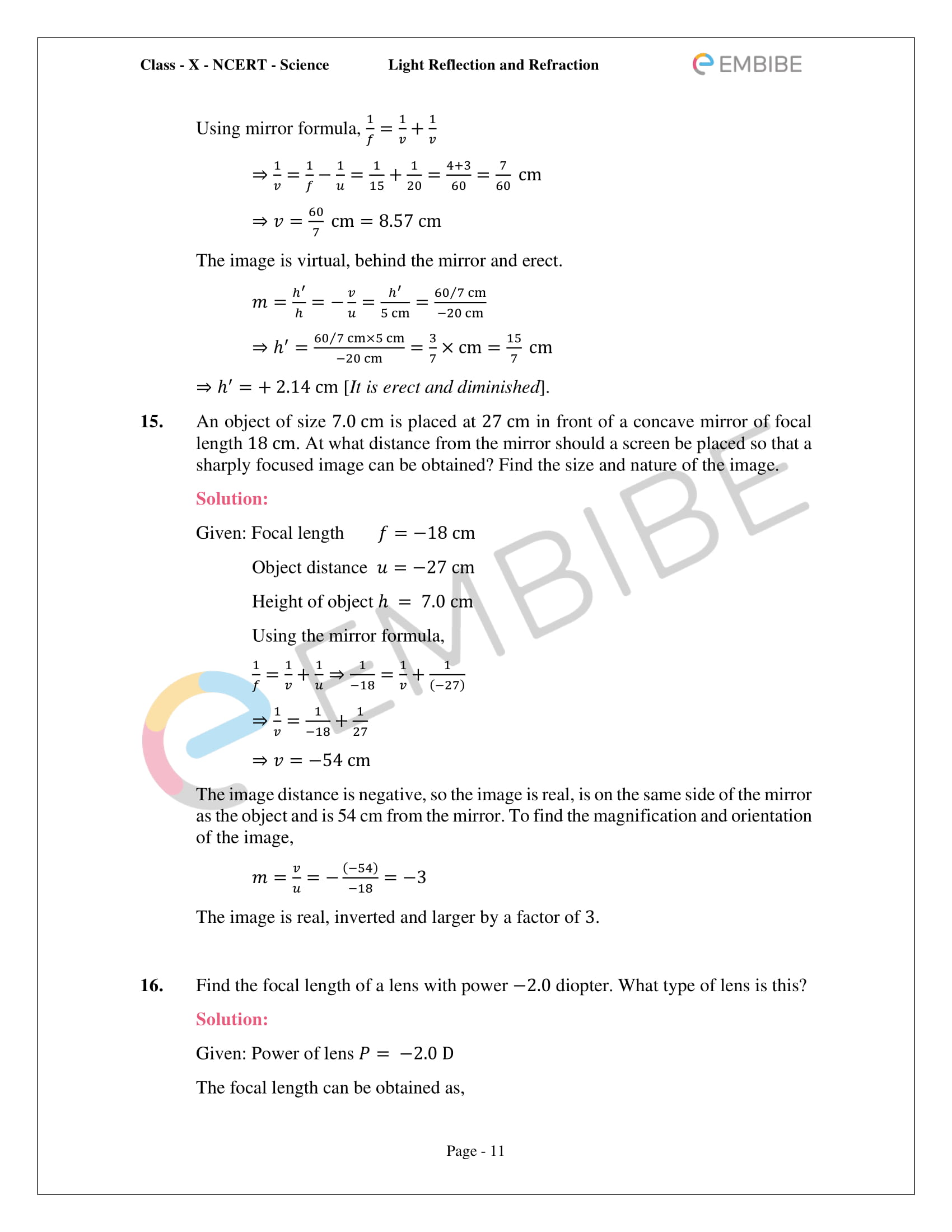 CBSE NCERT Solutions For Class 10 Science Chapter 10 - Light Reflection and Refraction - 11