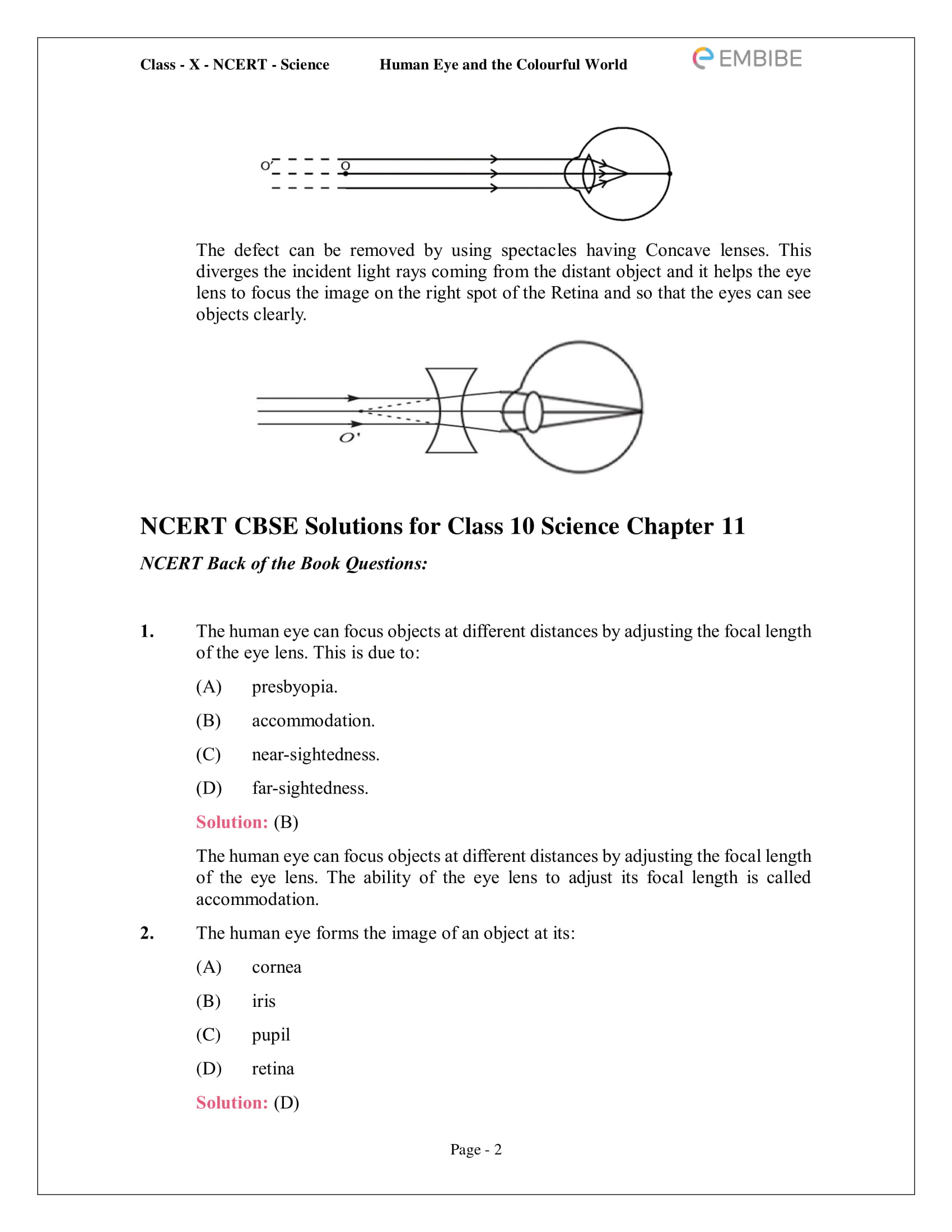 CBSE NCERT Solutions for Class 10 Science Chapter 11 - Human Eye And Colourful World - 2