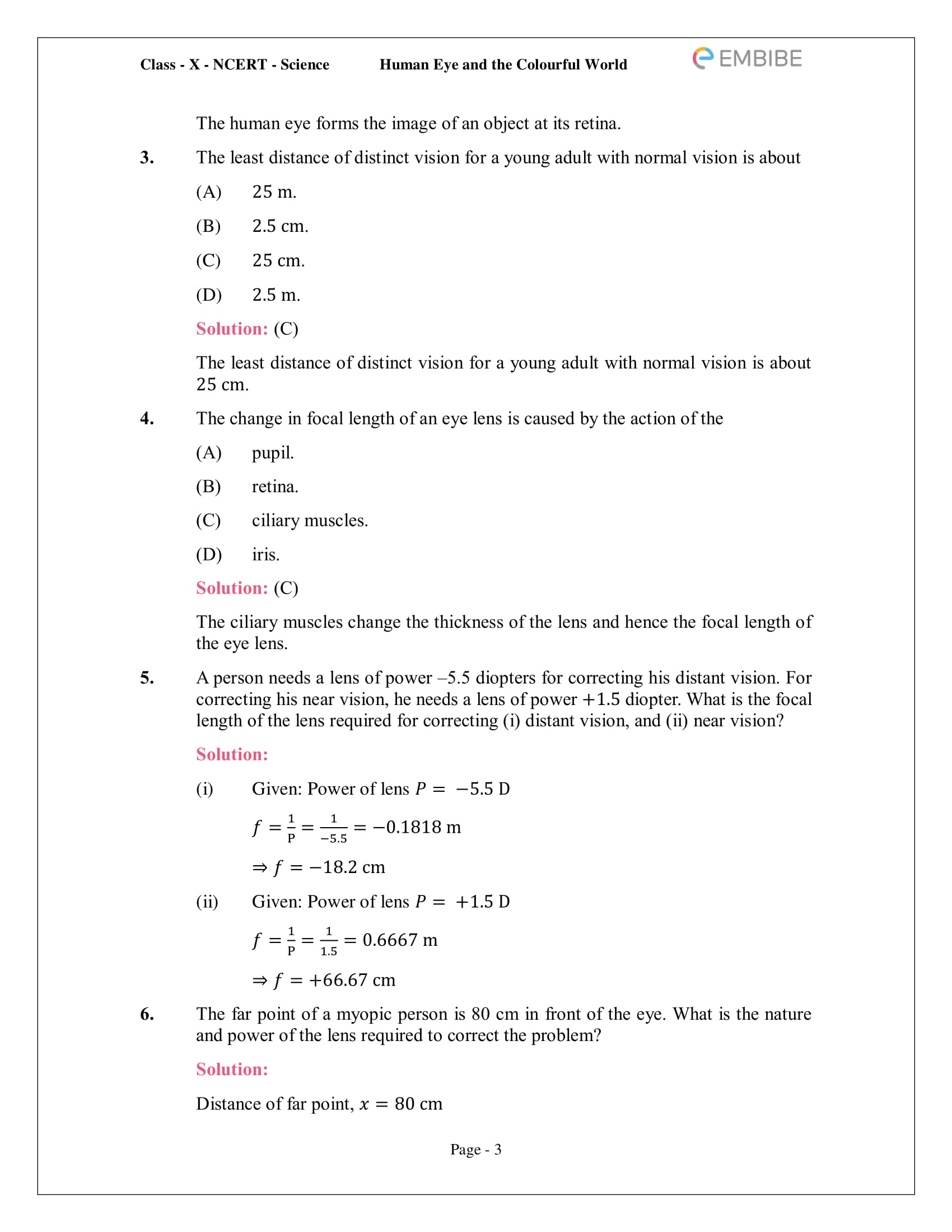 CBSE NCERT Solutions for Class 10 Science Chapter 11 - Human Eye And Colourful World - 3