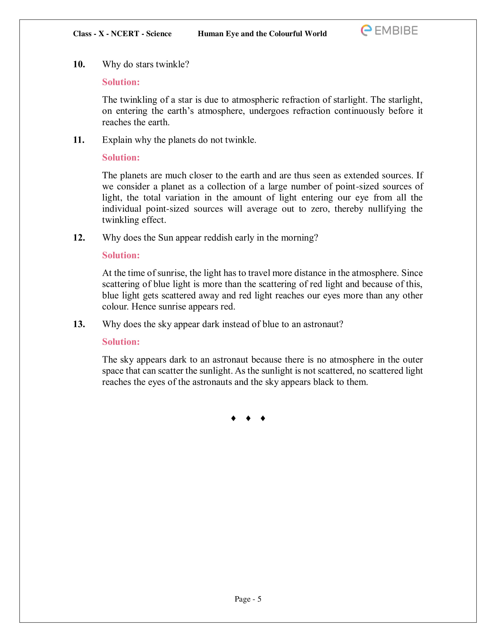 CBSE NCERT Solutions for Class 10 Science Chapter 11 - Human Eye And Colourful World - 5
