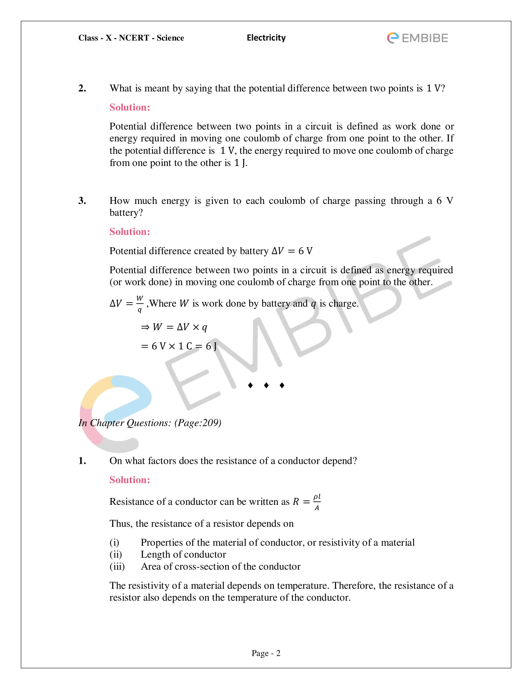 CBSE NCERT Solutions For Class 10 Science Chapter 12 - Electricity - 2