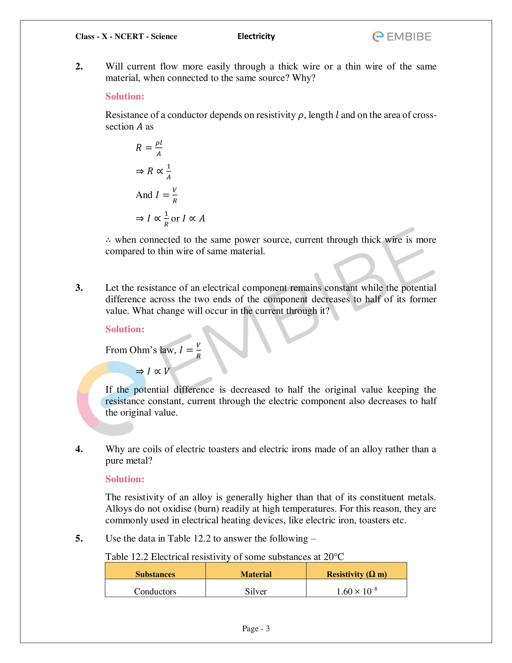 CBSE NCERT Solutions For Class 10 Science Chapter 12 - Electricity - 3